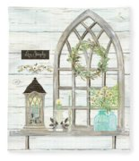 Sweet Life Farmhouse 3 Gothic Window Lantern Floral Shiplap Wood Fleece Blanket