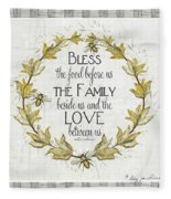 Sweet Life Farmhouse 4 Laurel Leaf Wreath Bee Bless This Food Fleece Blanket