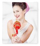 Sweet Lolly Shop Lady Offering Over Red Lollipop Fleece Blanket