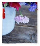 Sweet Pea And Corn Flowers Fleece Blanket