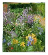 Sweet Rocket - Foxgloves And Irises Fleece Blanket