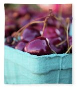 Sweet Summer Cherries Fleece Blanket