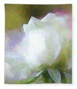 Sweet White Rose Fleece Blanket