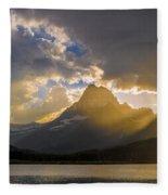 Swiftcurrent Lake Sundown Glacier N P Fleece Blanket