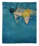Swimmer In Yellow Fleece Blanket