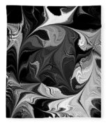 Swimming In Black And White - Abstract Fleece Blanket