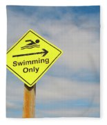 Swimming Sign Fleece Blanket