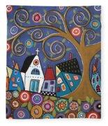 Swirl Tree Village Fleece Blanket