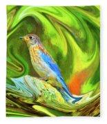 Swirling Bluebird Abstract Fleece Blanket
