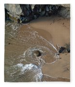 Swirling Surf And Rocks Fleece Blanket