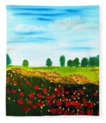 Swiss Poppies Fleece Blanket