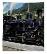 Swiss Steam Locomotive Fleece Blanket