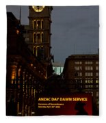Sydney Clock On Anzac Day At Dawn Fleece Blanket