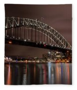 Sydney Harbor At Night Fleece Blanket