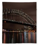 Sydney Harbor At Night With Train Fleece Blanket