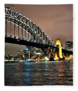Sydney Harbor Bridge Night View Fleece Blanket