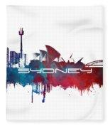 Sydney Skyline City Blue Fleece Blanket