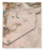 Syria Country 3d Render Topographic Map Neutral Border Fleece Blanket