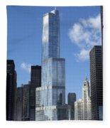 T Tower Chicago River Fleece Blanket