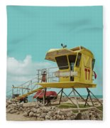 T7 Lifeguard Station Kapukaulua Beach Paia Maui Hawaii Fleece Blanket