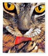 Tabby Cat Licking Paw Fleece Blanket