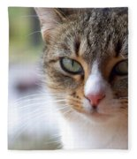 Tabby Cat Portrait Fleece Blanket