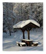 Table By Cross Country Ski Tracks Fleece Blanket