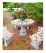 Table In The Garden Fleece Blanket
