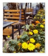 Tables And Chairs With Flowers Fleece Blanket