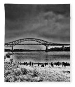Tacony Palmyra Bridge In B And W Fleece Blanket