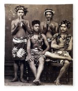 Tahiti: Men, C1890 Fleece Blanket