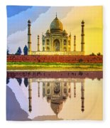 Taj Mahal At Sunrise Fleece Blanket
