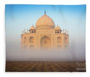 Taj Mahal In The Mist Fleece Blanket