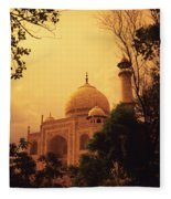 Taj Mahal Sunset Fleece Blanket