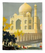 Taj Mahal Visit India Vintage Travel Poster Restored Fleece Blanket
