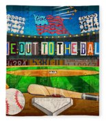 Take Me Out To The Ballgame Recycled Vintage License Plate Art Collage Fleece Blanket