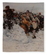 Taking A Snow Town Fleece Blanket
