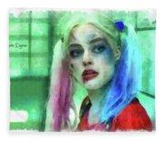 Talking To Harley Quinn - Aquarell Style Fleece Blanket