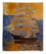 Tall Ship In The Sunset Fleece Blanket