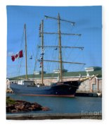 Tall Ship Waiting Fleece Blanket