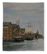 Tall Ships At Gloucester Docks Fleece Blanket