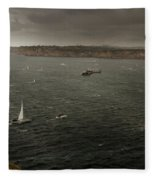 Tall Ships In The Entrance Of Sydney Harbour Fleece Blanket