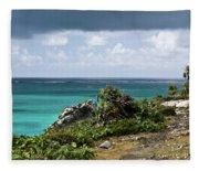 Talum Ruins Mexico Ocean View Fleece Blanket