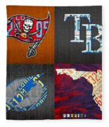 Tampa Bay Sports Fan Recycled Vintage Florida License Plate Art Bucs Rays Lightning Plus State Map Fleece Blanket