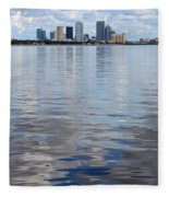 Tampa Skyline Over The Bay Fleece Blanket