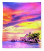 Tanah Lot Temple Sunset Bali Fleece Blanket