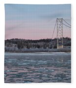 Tanana River With Pipeline - Early Morning Fleece Blanket