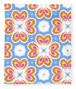 Tangerine And Sky Floral Pattern- Art By Linda Woods Fleece Blanket