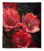 Tangerine Cactus Flower Fleece Blanket
