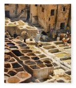 Tanneries Of Fes Morroco Fleece Blanket